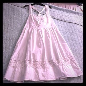 Cotton + Lace Sleeveless Dress Sweetheart Neckline